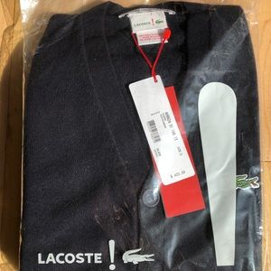 Lacoste 100% cashmere v-neck button down sweater
